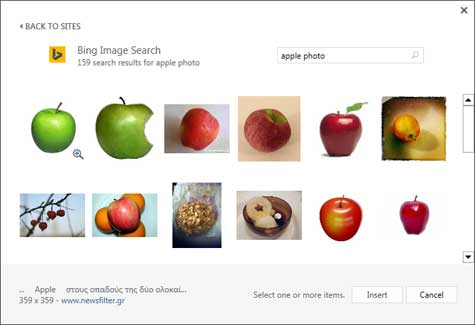 Search result of keywords Apple photo
