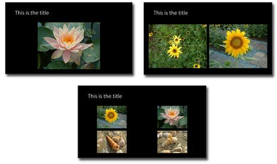 1, 2, and 4 pictures per slide show over the slide background with titles