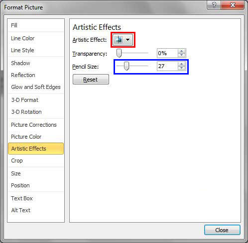 Artistic Effects pane selected within the Format Picture dialog box