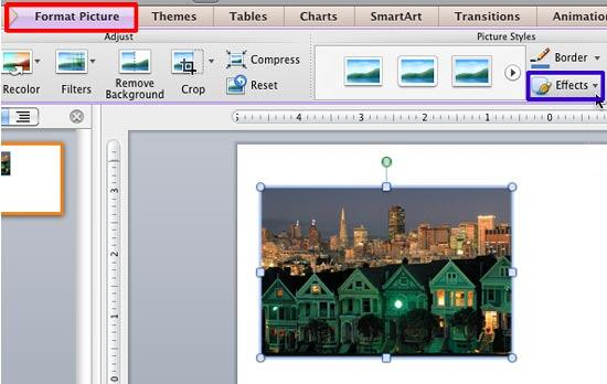 Effects button within the Picture Styles group