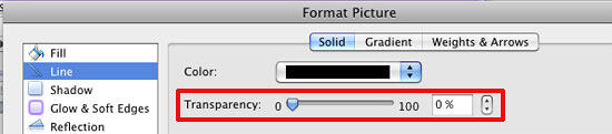 Transparency slider within the Format Picture dialog box