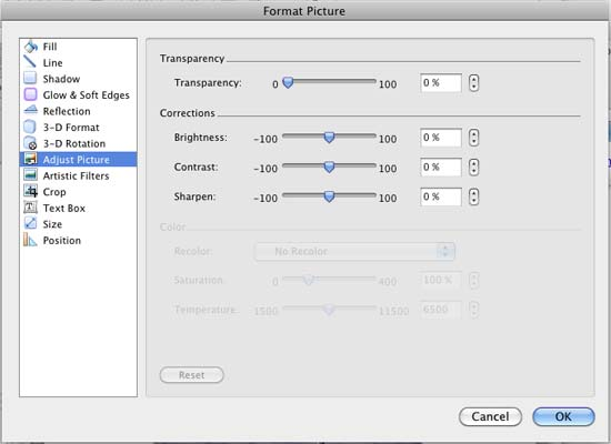 Picture Correction options within the Format Picture dialog box
