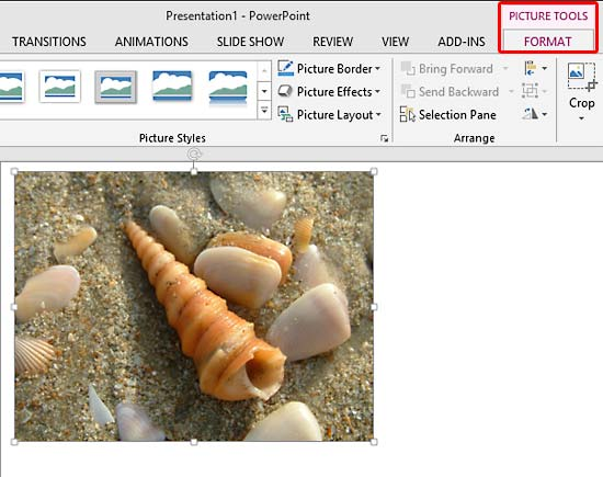 Picture Tools Format tab of the Ribbon