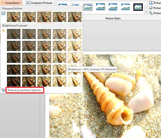 Brightness and Contrast adjustment values displayed in the tool tip