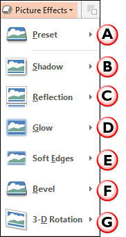 Picture Effects drop-down gallery