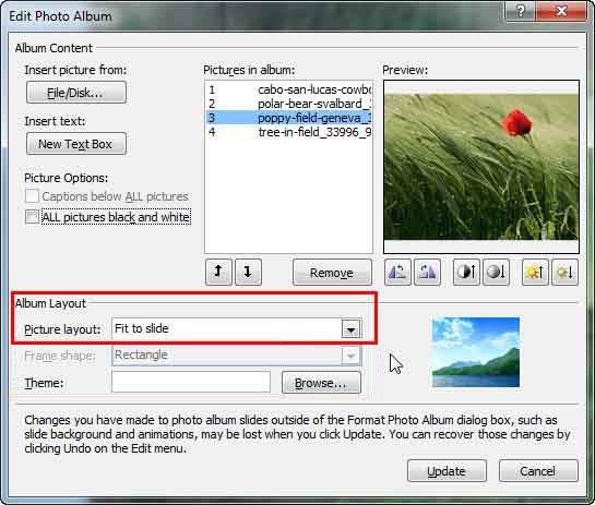 Edit Photo Album dialog box