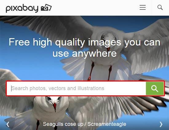 The Pixabay home page