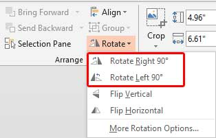 Rotate options within the Rotate drop-down gallery