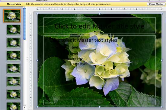 Picture inserted within Slide Master