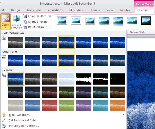 Recolor gallery in PowerPoint 2010