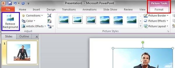 Remove Background button within Picture Tools Format tab of the Ribbon