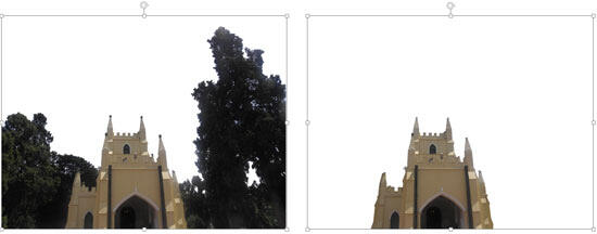 Two variations of the same picture showing the different areas removed