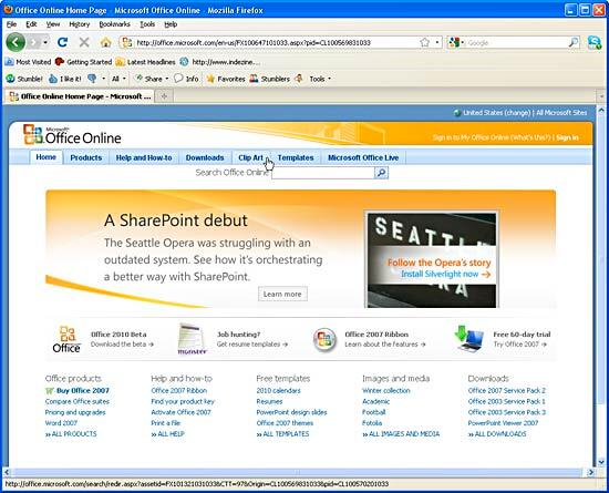 Microsoft Office home page