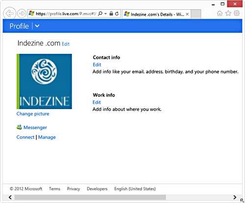 Microsoft Account web page