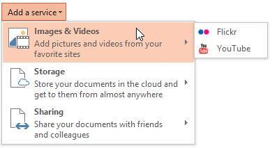 Images & Videos sub-menu