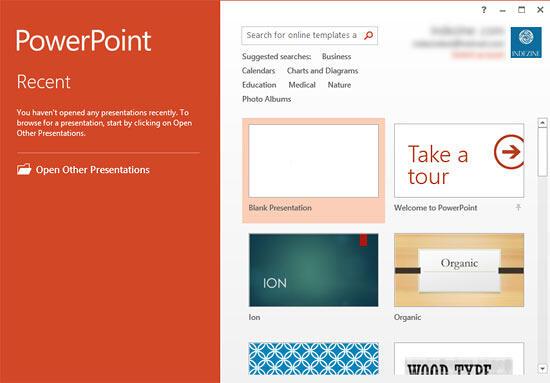 PowerPoint 2013's Presentation Gallery