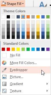 Eyedropper option selected
