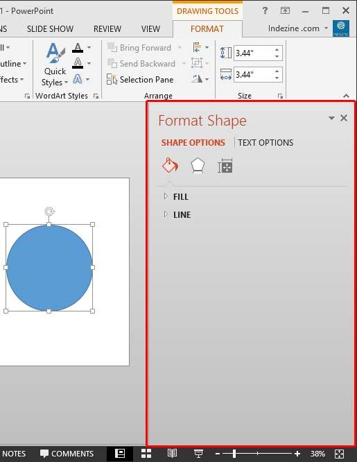 Format Shape Task pane