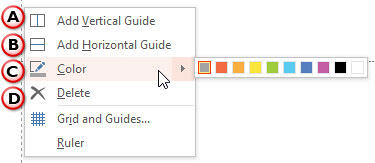 Right-click on an existing Guide to bring up this menu