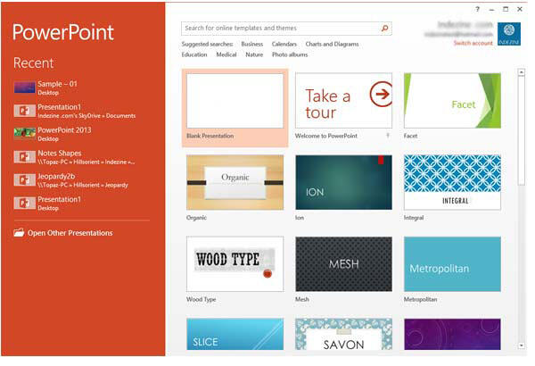 PowerPoint 2013 Presentation gallery