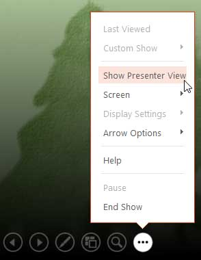 Show Presenter View option to be selected