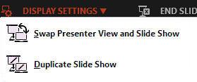 Display Settings drop-down menu