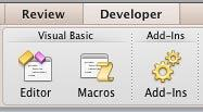 Options within the Developer tab in PowerPoint 2011