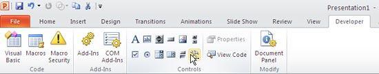 Developer tab made visible on the Ribbon