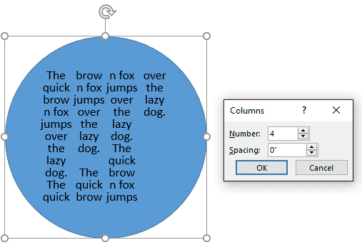 Text divided into columns with 0 spacing