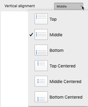 Vertical alignment drop-down list