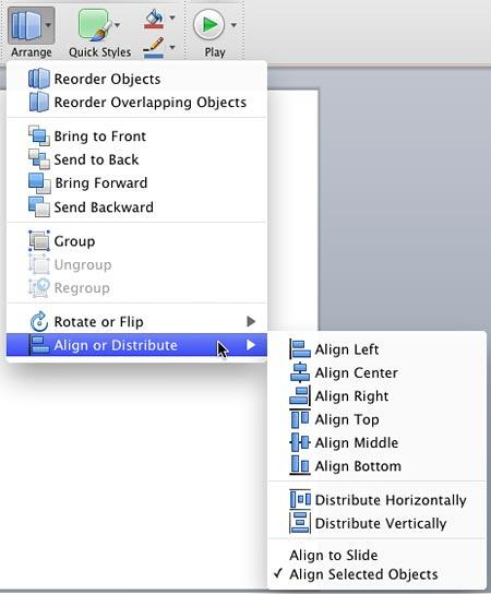 Align options within the Align or Distribute sub-gallery