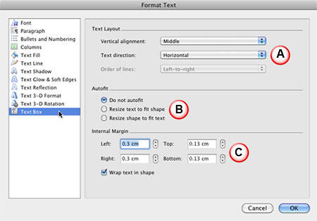 Text alignment options within the Format Text dialog box