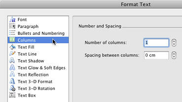 Columns option within the Format Text dialog box