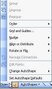 Draw button within the Drawing toolbar