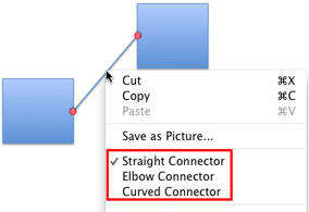 Connector type options within the contextual menu