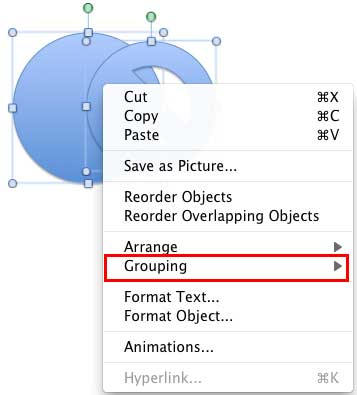 Contextual menu brought up by right-clicking the selected shapes