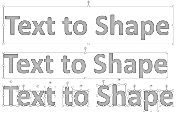 Intersect or Fragment your text to make shapes