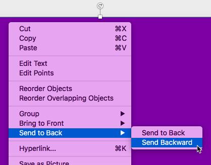 Send Backward option selected