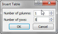 Insert Table dialog box