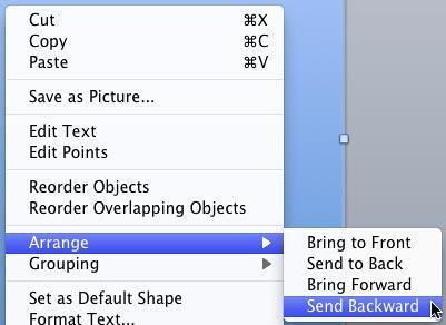 Send Backward option selected for the Rectangle