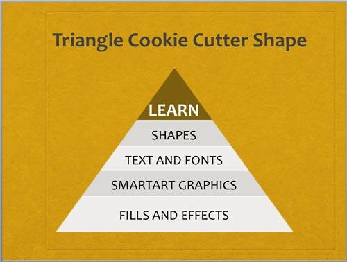 Triangle Cookie Cutter shape with a new Theme applied