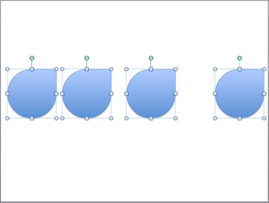 Shapes selected for horizontal distribution