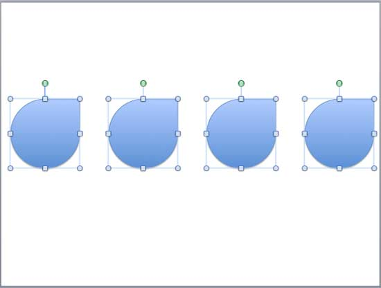 Shapes distributed horizontally showing equal distance between each other