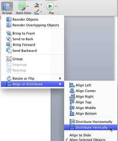 Distribute Vertically option selected