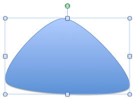 A curved edged triangle drawn with the curve shape tool