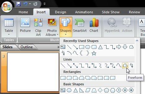Freeform line tool selected