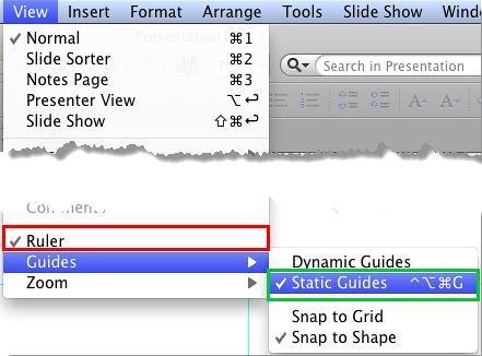 Ruler and Static Guides menu options selected