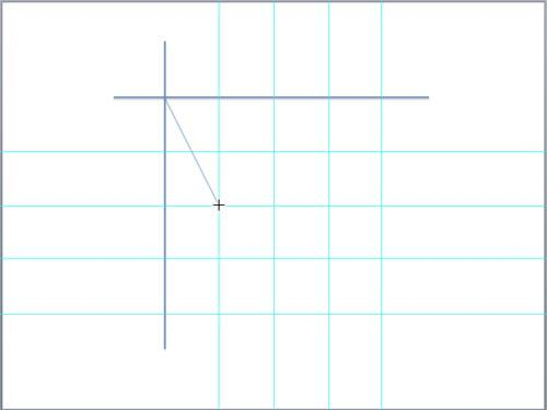 Drawing the first arc of the hyperbola