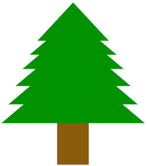 Conifer tree drawn using rectangle and triangle shapes