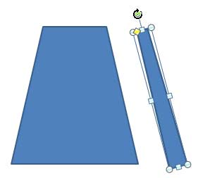 Trapezoid being rotated to form the side portion of the bag